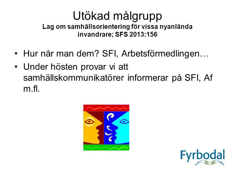 Utökad målgrupp Lag om samhällsorientering för vissa nyanlända invandrare; SFS 2013:156 Hur når man dem? SFI, Arbetsförmedlingen… Under hösten provar
