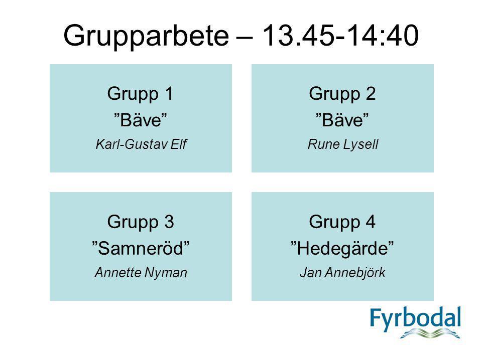 "Grupparbete – 13.45-14:40 Grupp 1 ""Bäve"" Karl-Gustav Elf Grupp 2 ""Bäve"" Rune Lysell Grupp 3 ""Samneröd"" Annette Nyman Grupp 4 ""Hedegärde"" Jan Annebjörk"