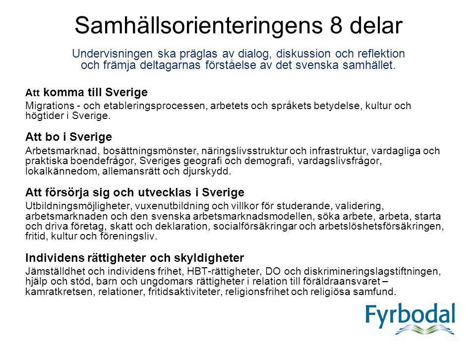 Att komma till Sverige Migrations - och etableringsprocessen, arbetets och språkets betydelse, kultur och högtider i Sverige. Att bo i Sverige Arbetsm