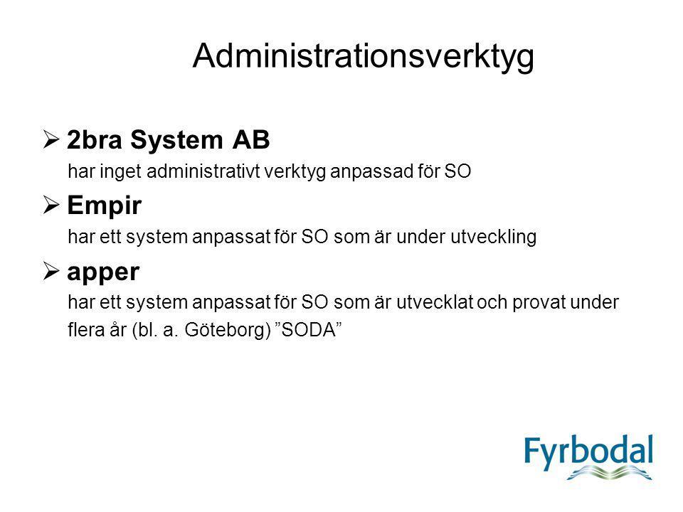 Administrationsverktyg  2bra System AB har inget administrativt verktyg anpassad för SO  Empir har ett system anpassat för SO som är under utvecklin