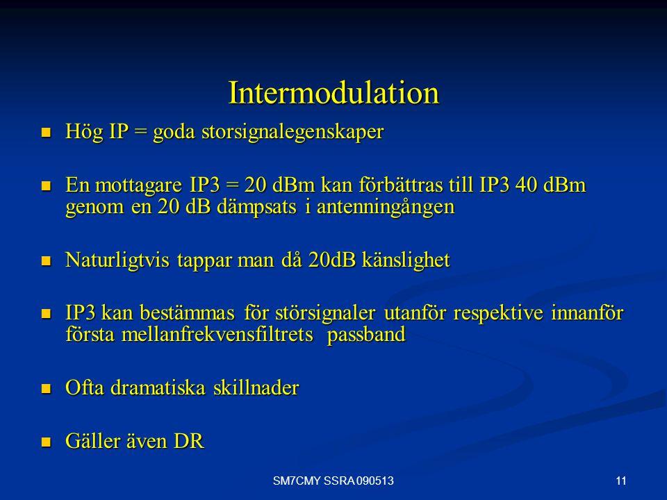 11SM7CMY SSRA 090513 Intermodulation Hög IP = goda storsignalegenskaper Hög IP = goda storsignalegenskaper En mottagare IP3 = 20 dBm kan förbättras ti