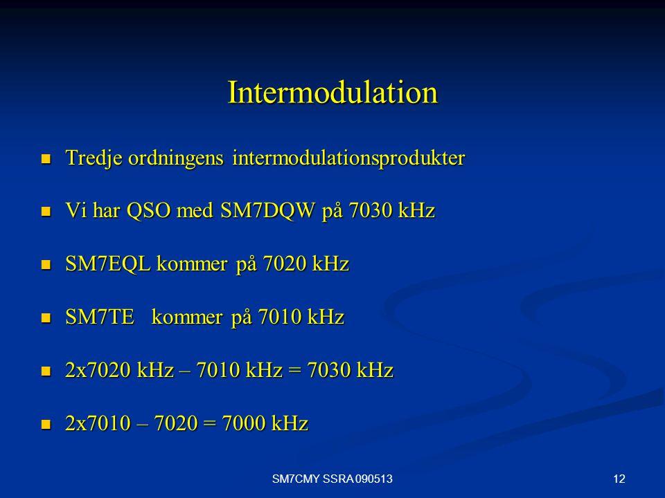 12SM7CMY SSRA 090513 Intermodulation Tredje ordningens intermodulationsprodukter Tredje ordningens intermodulationsprodukter Vi har QSO med SM7DQW på