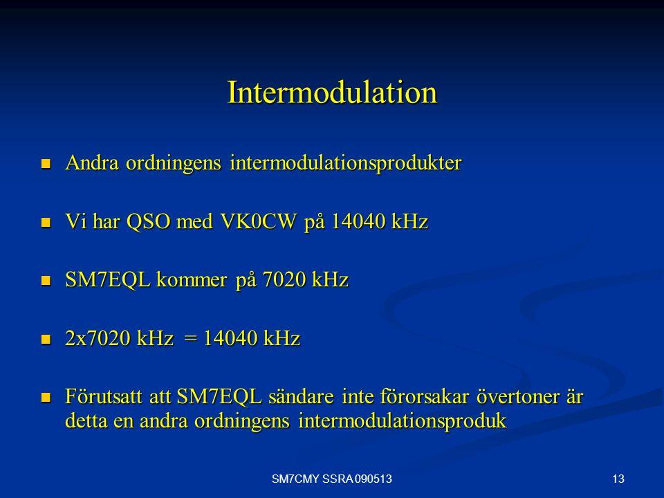 13SM7CMY SSRA 090513 Intermodulation Andra ordningens intermodulationsprodukter Andra ordningens intermodulationsprodukter Vi har QSO med VK0CW på 140