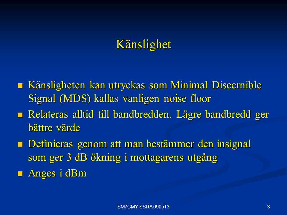 3 Känslighet Känsligheten kan utryckas som Minimal Discernible Signal (MDS) kallas vanligen noise floor Känsligheten kan utryckas som Minimal Discerni