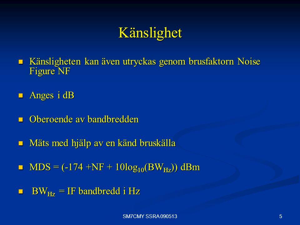 5SM7CMY SSRA 090513 Känslighet Känsligheten kan även utryckas genom brusfaktorn Noise Figure NF Känsligheten kan även utryckas genom brusfaktorn Noise