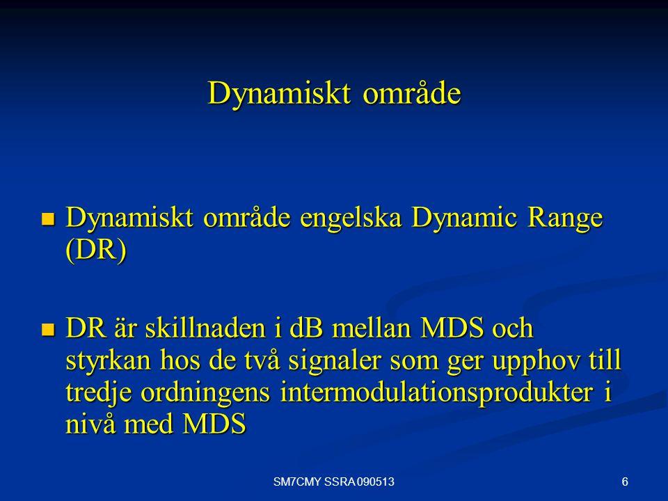 6SM7CMY SSRA 090513 Dynamiskt område Dynamiskt område engelska Dynamic Range (DR) Dynamiskt område engelska Dynamic Range (DR) DR är skillnaden i dB m