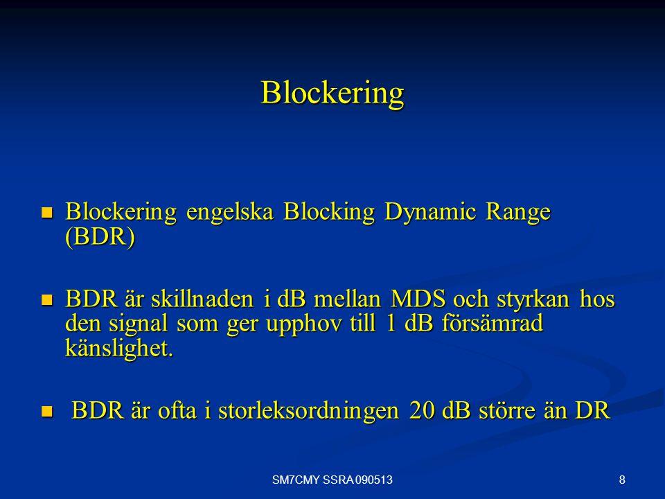 8SM7CMY SSRA 090513 Blockering Blockering engelska Blocking Dynamic Range (BDR) Blockering engelska Blocking Dynamic Range (BDR) BDR är skillnaden i d
