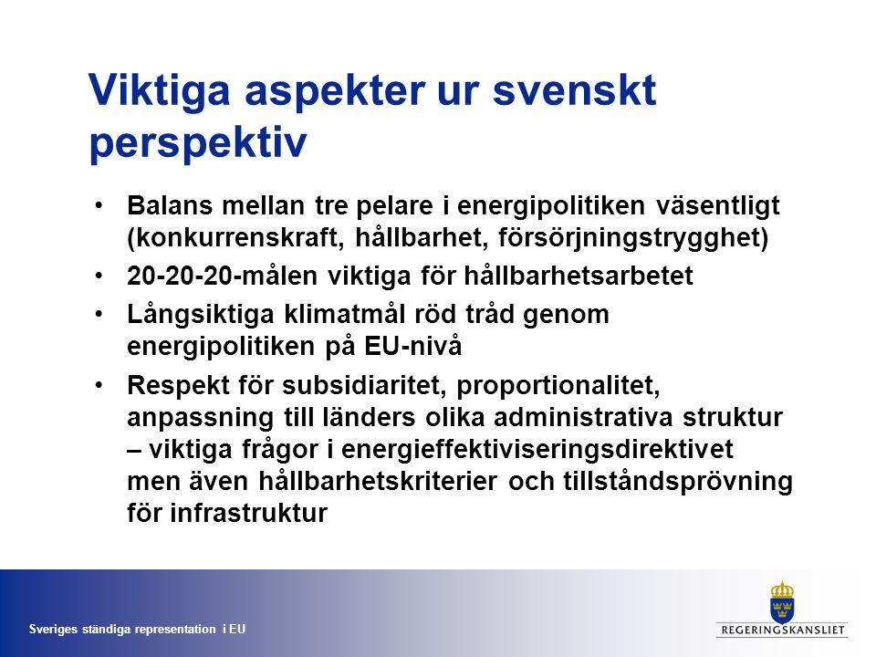 Sveriges ständiga representation i EU Viktiga aspekter ur svenskt perspektiv Balans mellan tre pelare i energipolitiken väsentligt (konkurrenskraft, hållbarhet, försörjningstrygghet) 20-20-20-målen viktiga för hållbarhetsarbetet Långsiktiga klimatmål röd tråd genom energipolitiken på EU-nivå Respekt för subsidiaritet, proportionalitet, anpassning till länders olika administrativa struktur – viktiga frågor i energieffektiviseringsdirektivet men även hållbarhetskriterier och tillståndsprövning för infrastruktur