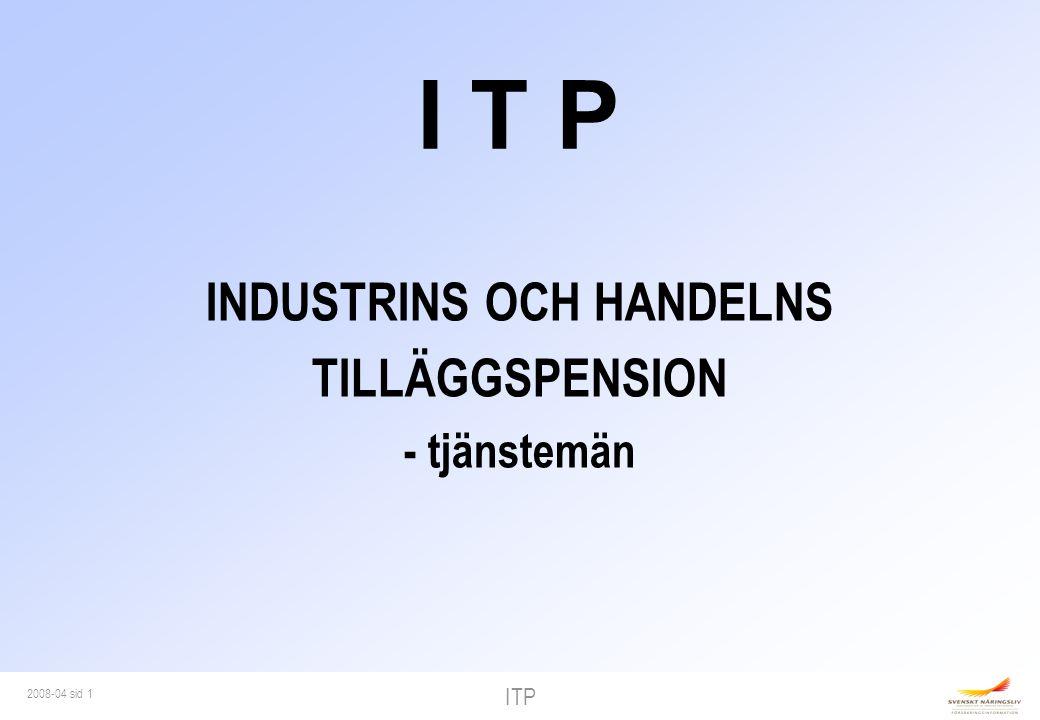 ITP 2008-04 sid 12 10% ITP 7,5 bb Lön 10% kollektiv- avtalad sjuklön 80% sjuklön 1 14 90 80% sjukpenning (SGI x 0,97) 20 ibb 30 ibb 65% ITP 80% sjuklön 32,5% ITP Lön 90% kollektiv- avtalad sjuklön SJUKDOM 65 år 360 64% sjuk- ersättning 15% ITP ITP 1 och 2
