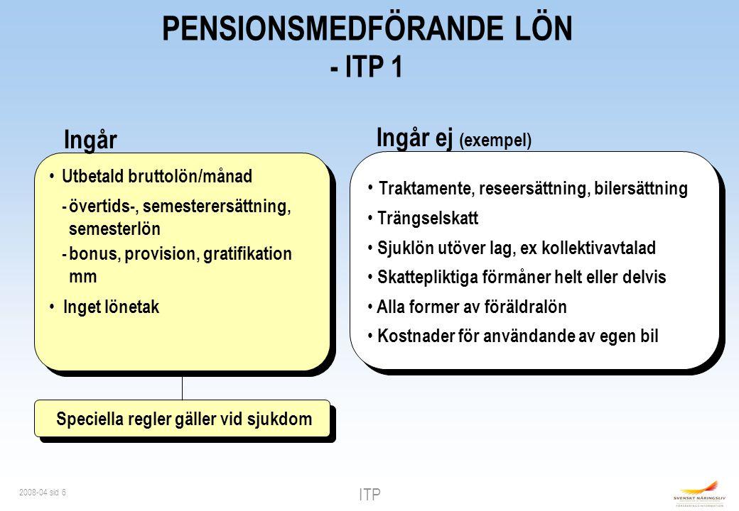 ITP 2008-04 sid 27 ITPK Kompletterande ålderspension Premiebestämd Temporär eller livsvarig Val av - återbetalningsskydd - familjeskydd ITP 2 2 % Premie Max 30 ibb