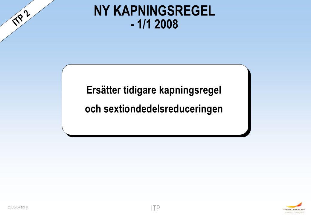ITP 2008-04 sid 29 Traditionell Försäkringsbolaget förvaltar premierna Garanterad ränta Återbäring Pensionens storlek - premier, avkastning och avgifter avgör Fond Individen väljer förvaltare Ingen garanterad ränta Fondandelarnas utveckling Pensionens storlek - andelarnas värde ITPK - jämförelse ITP 2