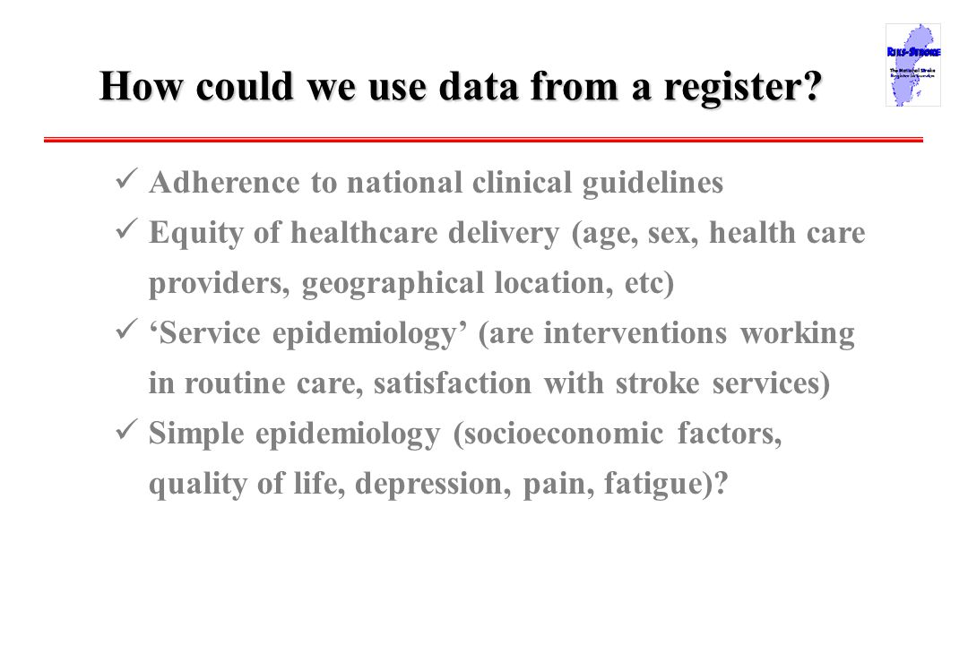 Data from2003/BS How could we use data from a register.