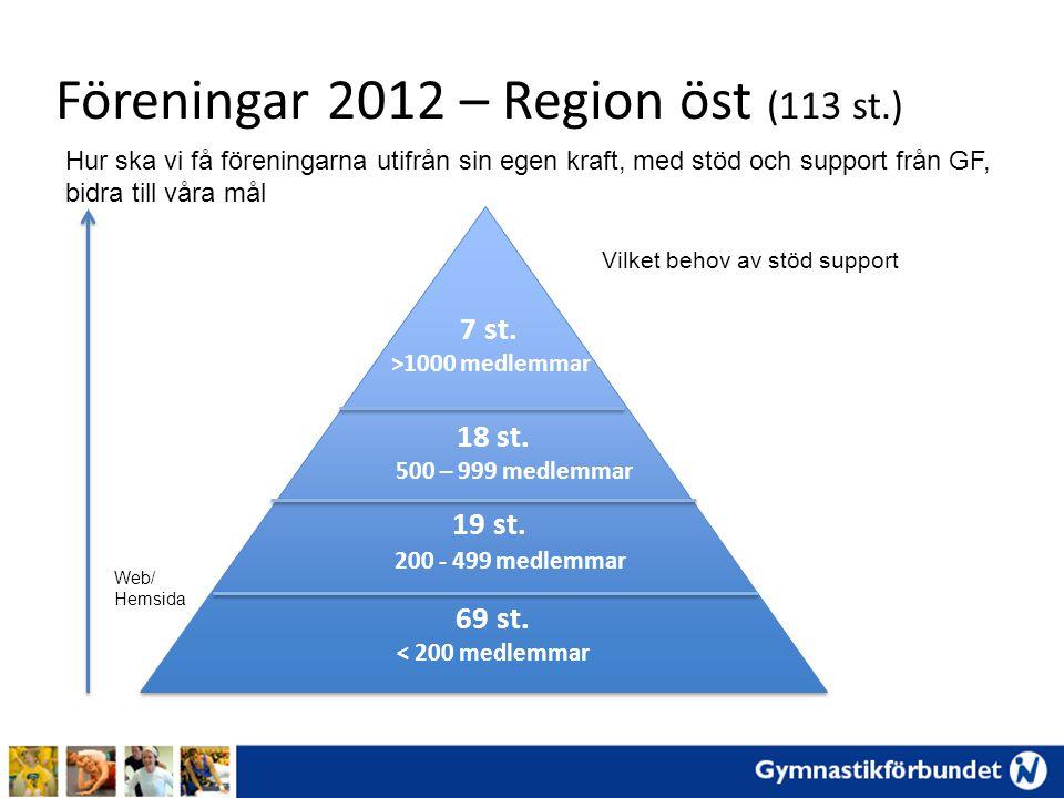 Föreningar 2012 – Region öst (113 st.) 69 st.< 200 medlemmar 7 st.
