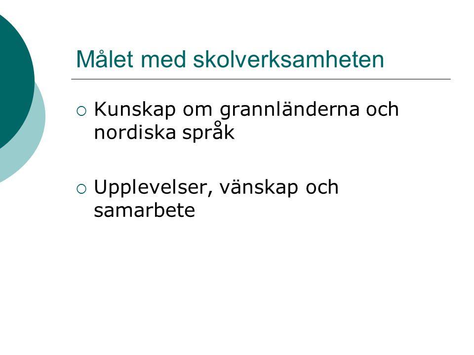 Målet med skolverksamheten  Kunskap om grannländerna och nordiska språk  Upplevelser, vänskap och samarbete