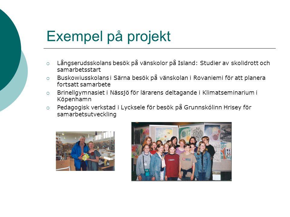 Exempel på projekt  Långserudsskolans besök på vänskolor på Island: Studier av skolidrott och samarbetsstart  Buskowiusskolans i Särna besök på väns