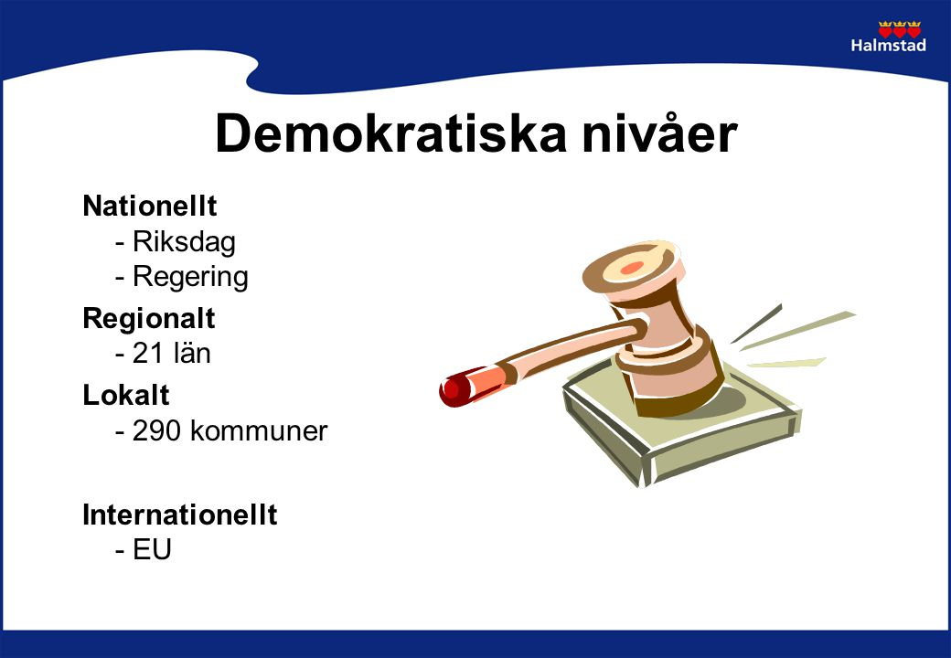 Demokratiska nivåer Nationellt - Riksdag - Regering Regionalt - 21 län Lokalt - 290 kommuner Internationellt - EU