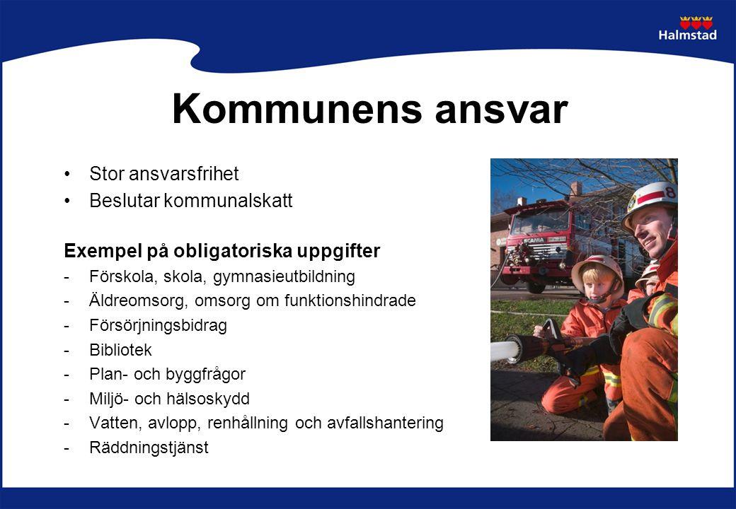 Frivilliga uppgifter Exempelvis: -Öppen förskola -Fritidsverksamhet -Byggande av bostäder -Energi -Hälso- och viss sjukvård i hemmet -Sysselsättning -Näringslivsutveckling -Kultur Kommunens ansvar