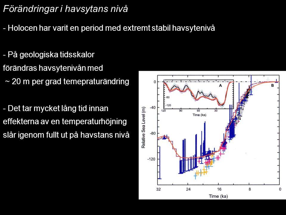 2014-12-12 Johan Kleman, Professor, Instutitionen för naturgeografi och kvartärgeologi 18 Havsytans nivåförändringar Förändringar i havsytans nivå - H