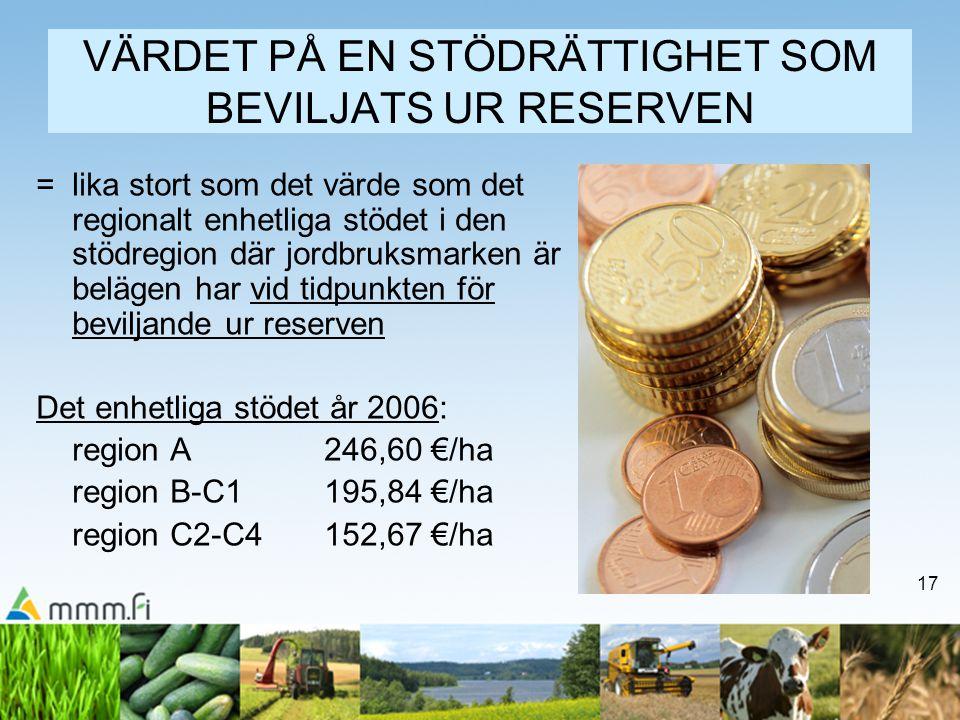 17 VÄRDET PÅ EN STÖDRÄTTIGHET SOM BEVILJATS UR RESERVEN = lika stort som det värde som det regionalt enhetliga stödet i den stödregion där jordbruksma
