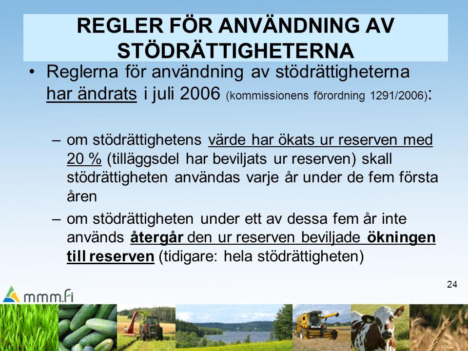 24 REGLER FÖR ANVÄNDNING AV STÖDRÄTTIGHETERNA Reglerna för användning av stödrättigheterna har ändrats i juli 2006 (kommissionens förordning 1291/2006