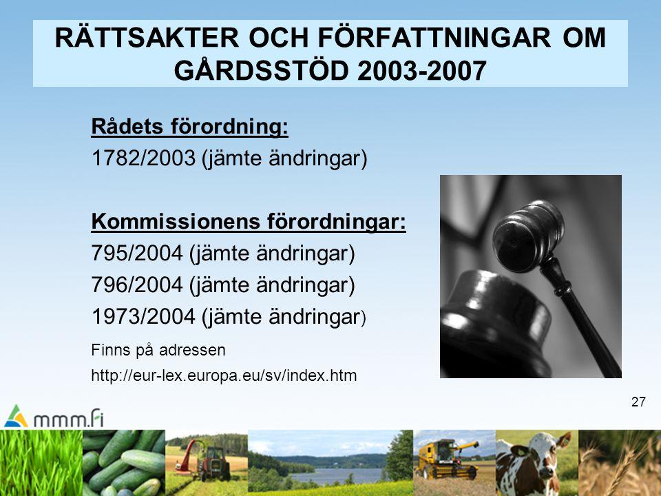27 RÄTTSAKTER OCH FÖRFATTNINGAR OM GÅRDSSTÖD 2003-2007 Rådets förordning: 1782/2003 (jämte ändringar) Kommissionens förordningar: 795/2004 (jämte ändr