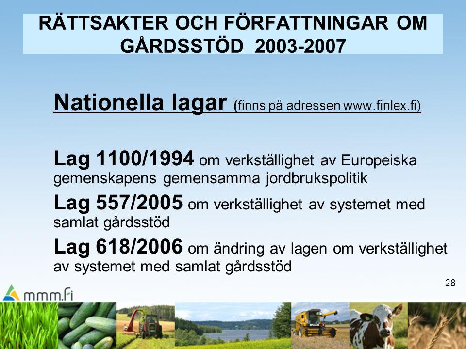 28 RÄTTSAKTER OCH FÖRFATTNINGAR OM GÅRDSSTÖD 2003-2007 Nationella lagar (finns på adressen www.finlex.fi) Lag 1100/1994 om verkställighet av Europeisk