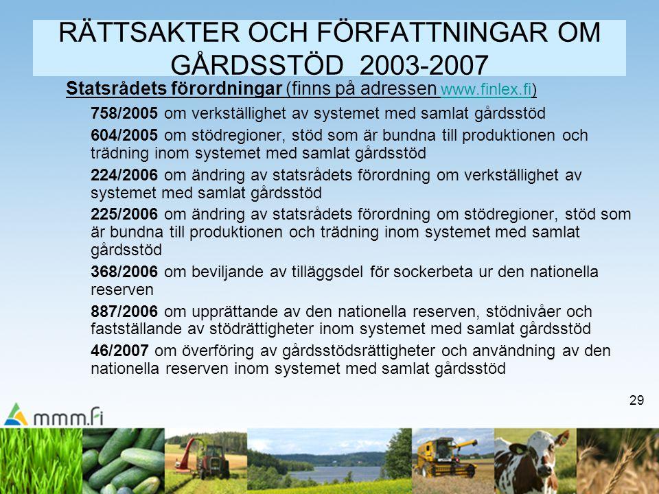 29 RÄTTSAKTER OCH FÖRFATTNINGAR OM GÅRDSSTÖD 2003-2007 Statsrådets förordningar (finns på adressen www.finlex.fi)www.finlex.fi 758/2005 om verkställig