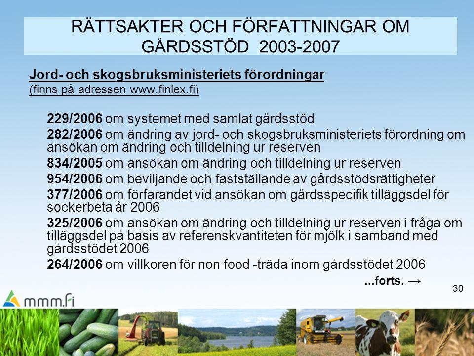 30 RÄTTSAKTER OCH FÖRFATTNINGAR OM GÅRDSSTÖD 2003-2007 Jord- och skogsbruksministeriets förordningar (finns på adressen www.finlex.fi) 229/2006 om sys