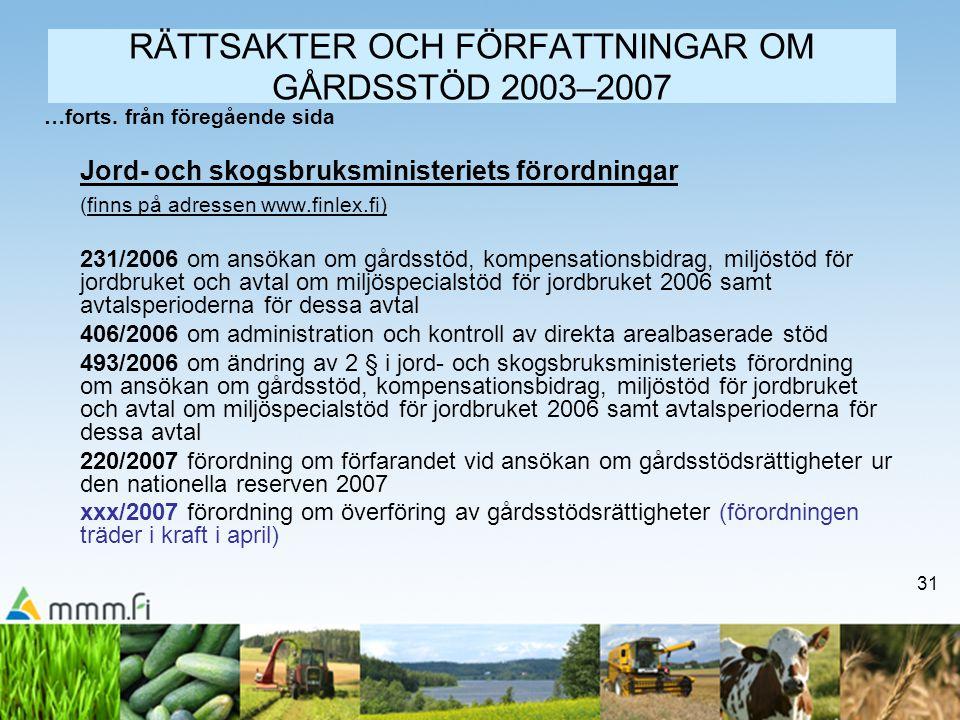 31 RÄTTSAKTER OCH FÖRFATTNINGAR OM GÅRDSSTÖD 2003–2007 …forts. från föregående sida Jord- och skogsbruksministeriets förordningar (finns på adressen w