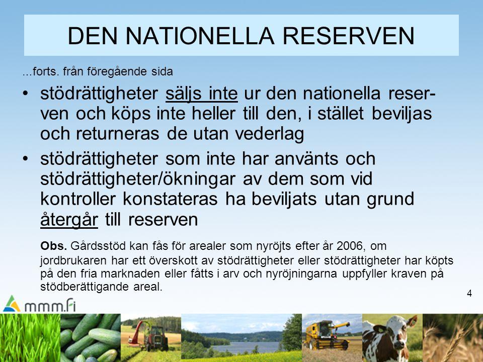 4 DEN NATIONELLA RESERVEN … forts. från föregående sida stödrättigheter säljs inte ur den nationella reser- ven och köps inte heller till den, i ställ