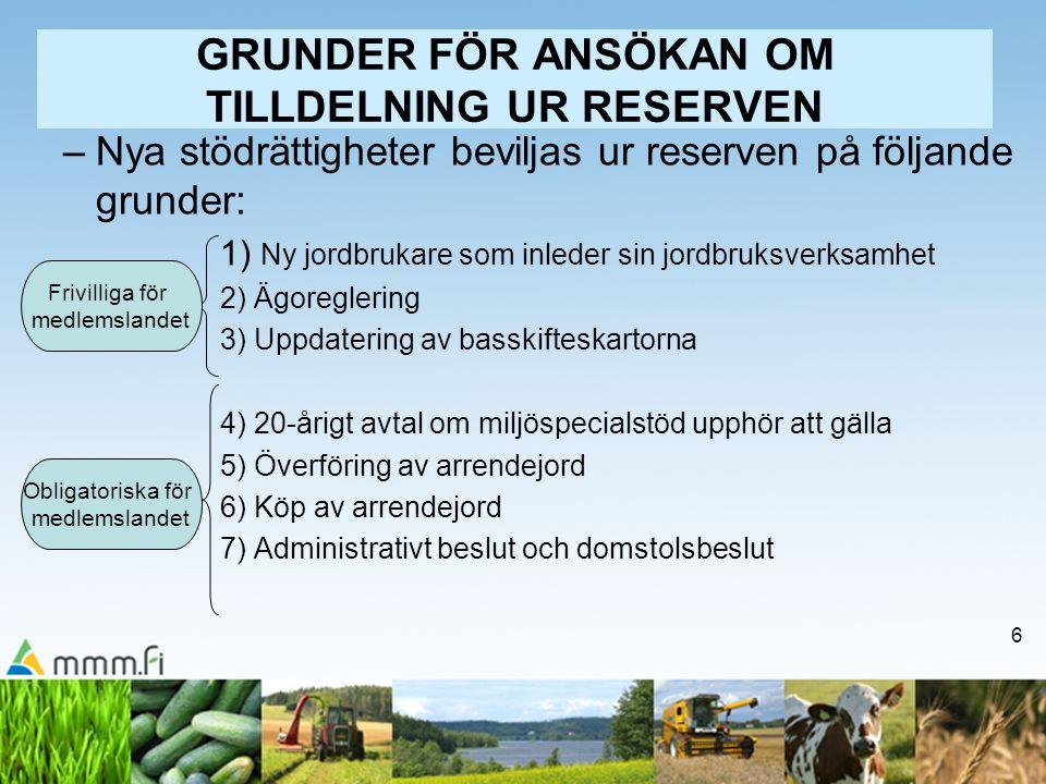 6 GRUNDER FÖR ANSÖKAN OM TILLDELNING UR RESERVEN –Nya stödrättigheter beviljas ur reserven på följande grunder: 1) Ny jordbrukare som inleder sin jord