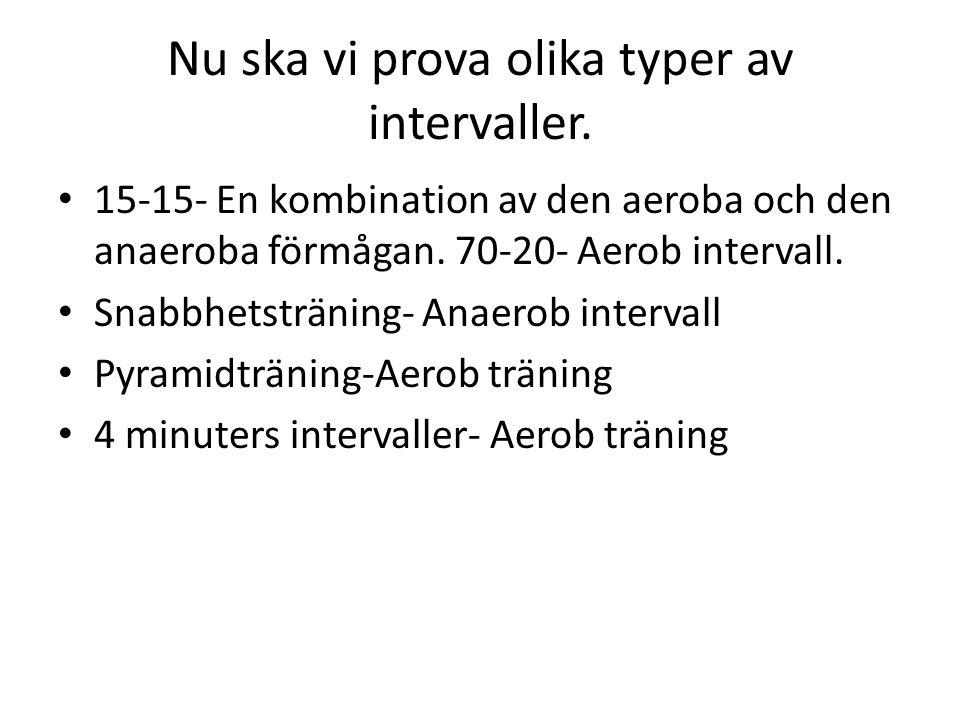 Nu ska vi prova olika typer av intervaller. 15-15- En kombination av den aeroba och den anaeroba förmågan. 70-20- Aerob intervall. Snabbhetsträning- A