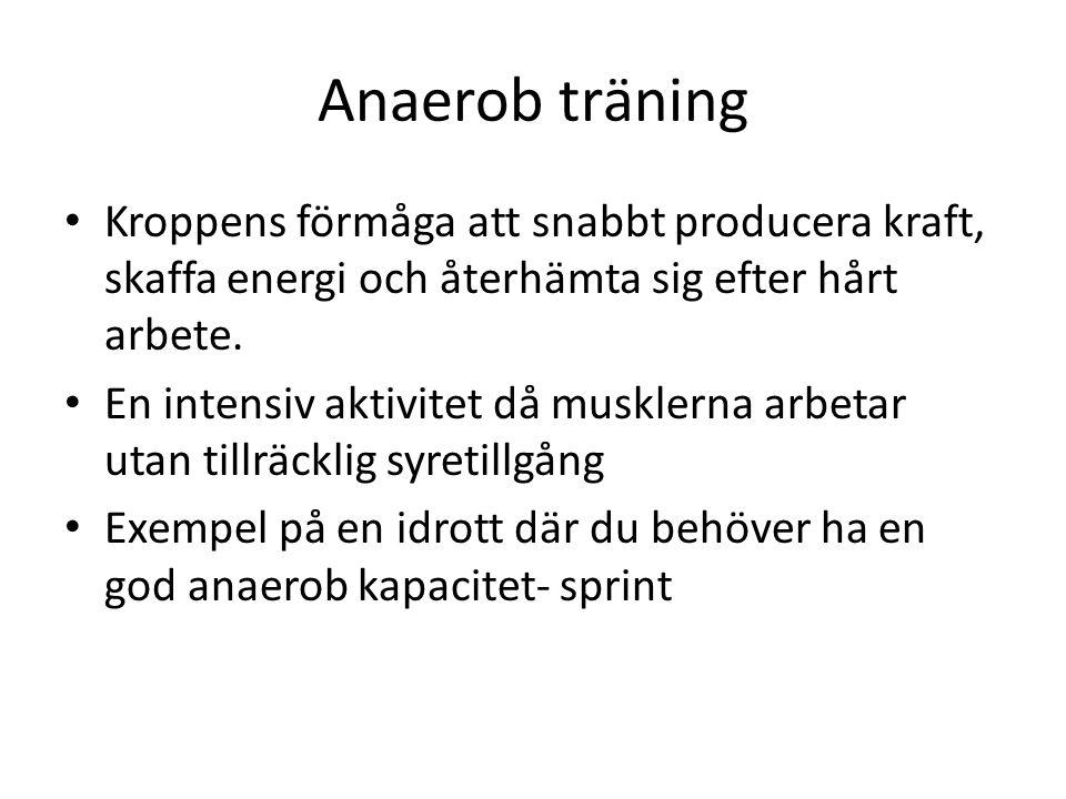 Anaerob träning Kroppens förmåga att snabbt producera kraft, skaffa energi och återhämta sig efter hårt arbete. En intensiv aktivitet då musklerna arb