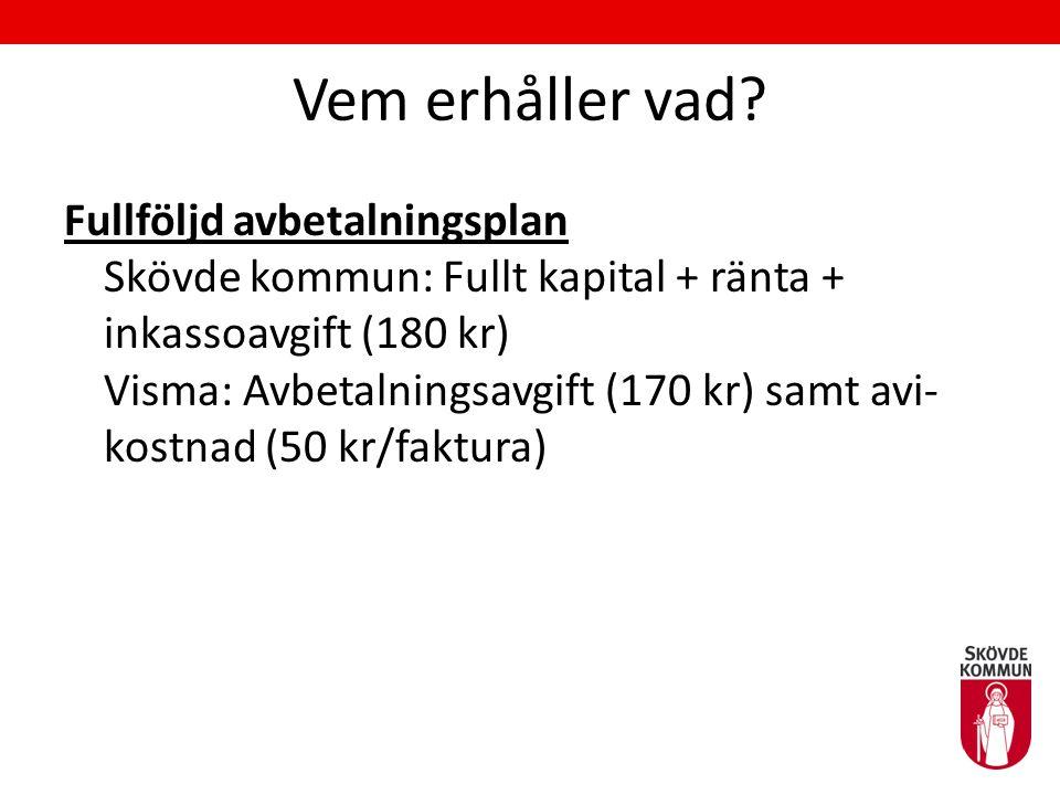 Vem erhåller vad? Fullföljd avbetalningsplan Skövde kommun: Fullt kapital + ränta + inkassoavgift (180 kr) Visma: Avbetalningsavgift (170 kr) samt avi