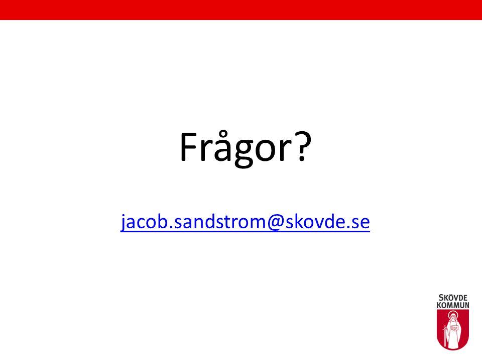 Frågor? jacob.sandstrom@skovde.se jacob.sandstrom@skovde.se