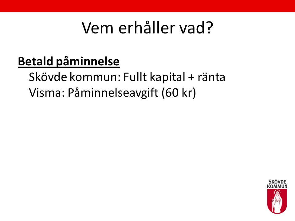 Vem erhåller vad? Betald påminnelse Skövde kommun: Fullt kapital + ränta Visma: Påminnelseavgift (60 kr)