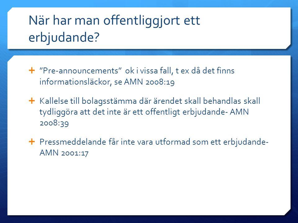 Erbjudandet  Punkt II.10 takeover-reglerna  Är det tillåtet att erbjuda A- och B-aktieägare olika vederlag.