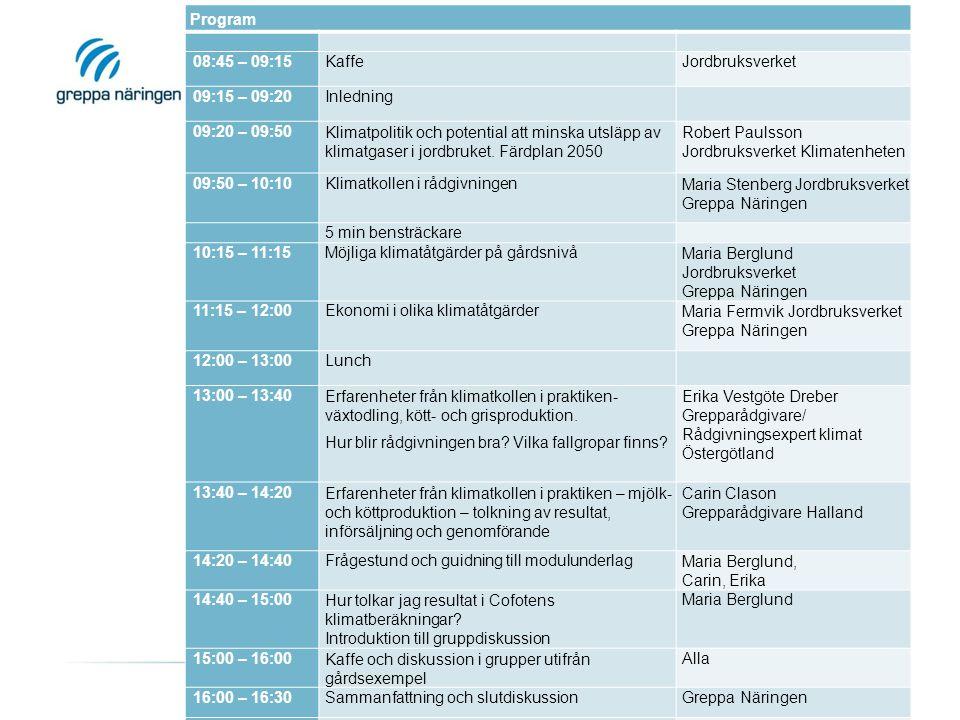 Program 08:45 – 09:15KaffeJordbruksverket 09:15 – 09:20Inledning 09:20 – 09:50Klimatpolitik och potential att minska utsläpp av klimatgaser i jordbruket.
