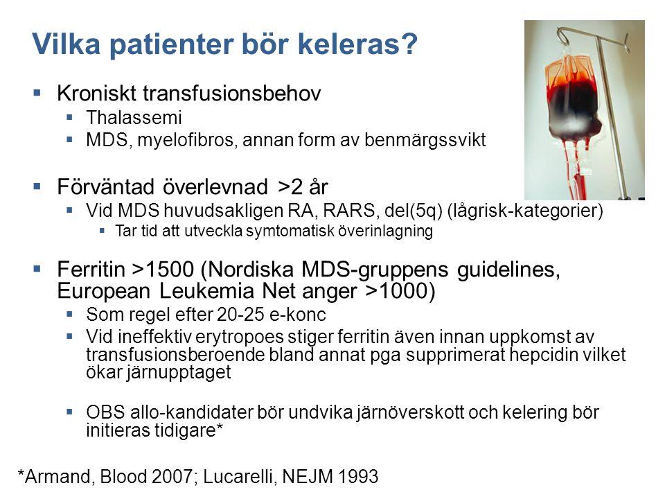 Vilka patienter bör keleras?  Kroniskt transfusionsbehov  Thalassemi  MDS, myelofibros, annan form av benmärgssvikt  Förväntad överlevnad >2 år 
