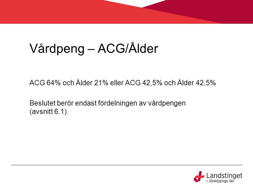 Vårdpeng – ACG/Ålder ACG 64% och Ålder 21% eller ACG 42,5% och Ålder 42,5% Beslutet berör endast fördelningen av vårdpengen (avsnitt 6.1).