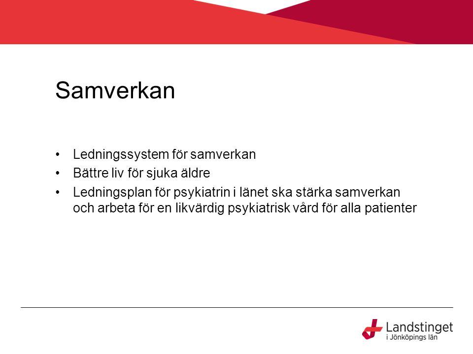 Samverkan Ledningssystem för samverkan Bättre liv för sjuka äldre Ledningsplan för psykiatrin i länet ska stärka samverkan och arbeta för en likvärdig