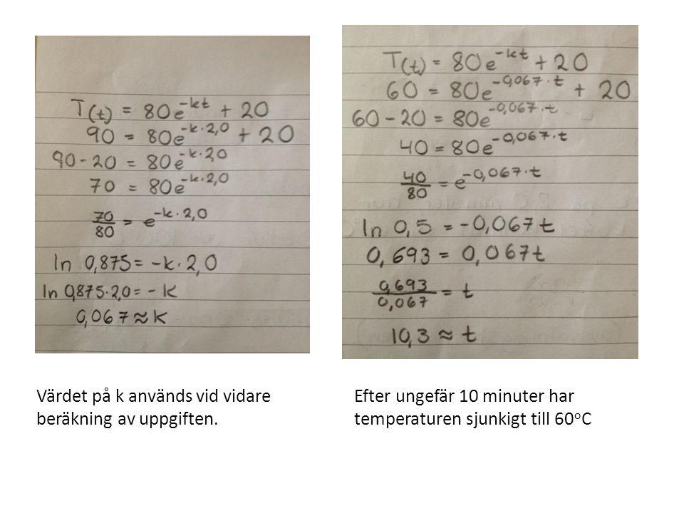 Värdet på k används vid vidare beräkning av uppgiften. Efter ungefär 10 minuter har temperaturen sjunkigt till 60 o C