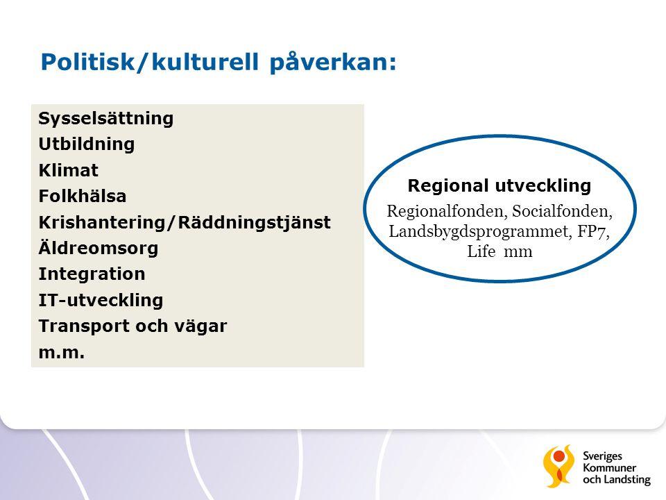 Politisk/kulturell påverkan: Sysselsättning Utbildning Klimat Folkhälsa Krishantering/Räddningstjänst Äldreomsorg Integration IT-utveckling Transport