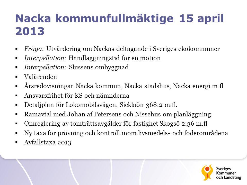 Nacka kommunfullmäktige 15 april 2013  Fråga: Utvärdering om Nackas deltagande i Sveriges ekokommuner  Interpellation: Handläggningstid för en motio