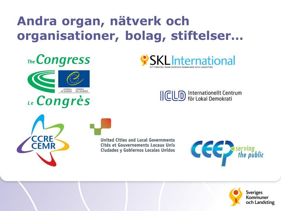 Andra organ, nätverk och organisationer, bolag, stiftelser…
