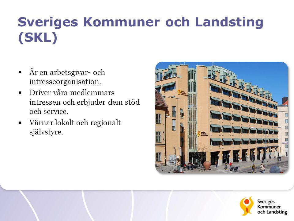 Sveriges Kommuner och Landsting (SKL)  Är en arbetsgivar- och intresseorganisation.  Driver våra medlemmars intressen och erbjuder dem stöd och serv