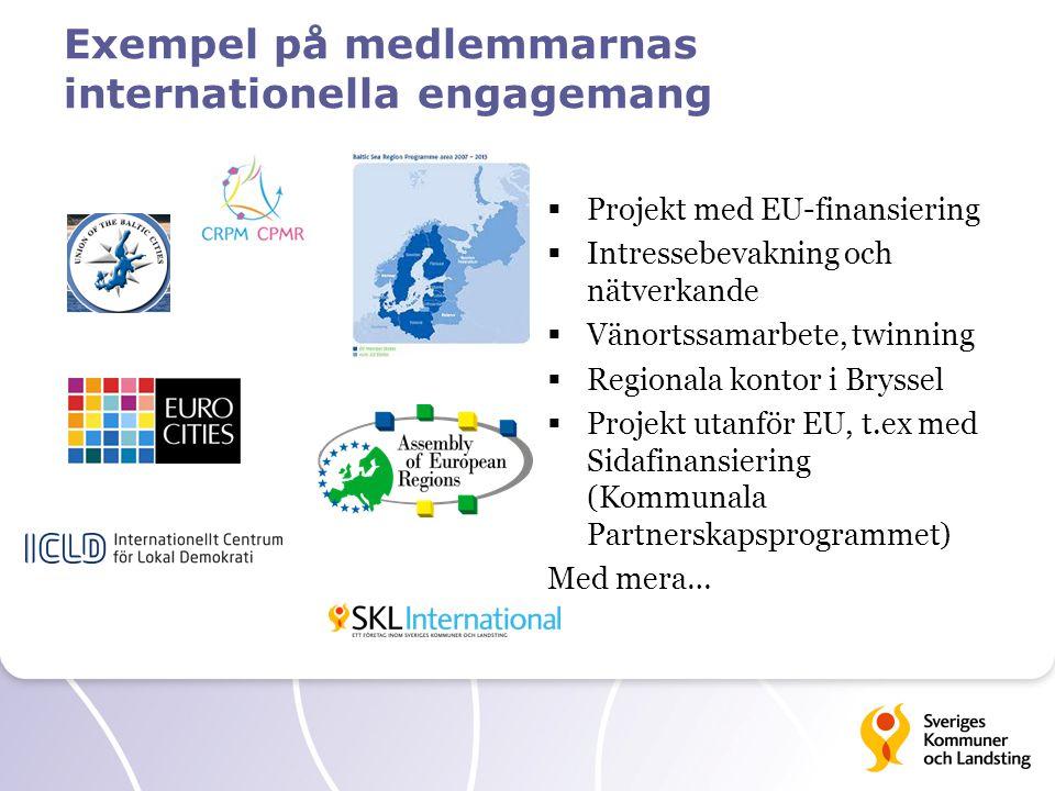 Exempel på medlemmarnas internationella engagemang  Projekt med EU-finansiering  Intressebevakning och nätverkande  Vänortssamarbete, twinning  Re