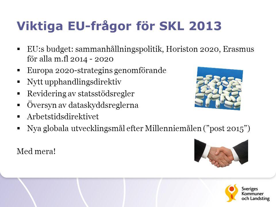 Viktiga EU-frågor för SKL 2013  EU:s budget: sammanhållningspolitik, Horiston 2020, Erasmus för alla m.fl 2014 - 2020  Europa 2020-strategins genomf