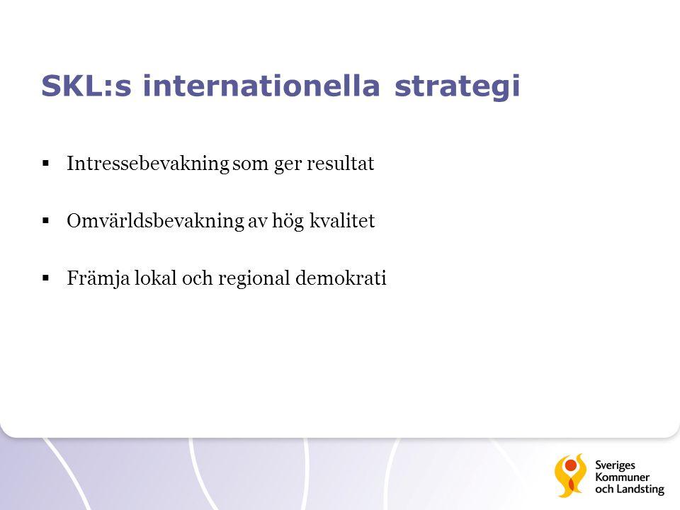 SKL:s internationella strategi  Intressebevakning som ger resultat  Omvärldsbevakning av hög kvalitet  Främja lokal och regional demokrati
