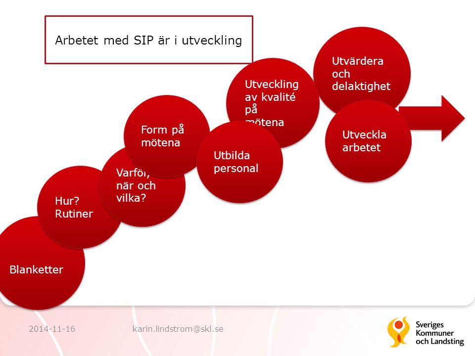Blanketter Utvärdera och delaktighet Utveckling av kvalité på mötena Hur? Rutiner Varför, när och vilka? Form på mötena Utbilda personal Utveckla arbe